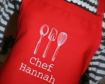 As seen on Giada at Home--Kitchen Utensils--Custom Embroidered Ladies Apron-- --2 sizes available and several colors