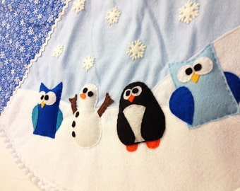 Tree Skirt, Christmas Tree Skirt, Winter Wonderland. Snowman Tree Skirt, Penguin, Owl, Blue Snowflakes