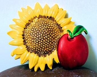 Pretty Vintage Yellow Sunflower Pin, Apple W Sunflower Brooch, Gift for Teacher, Sunflower and Apple Brooch, Teachers Gift