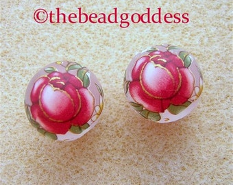 New Pair Japanese TENSHA Beads RED Roses on FROST 12mm
