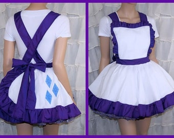 MLP Rarity Purple White Pinafore Apron Costume Skirt Adult All Sizes- MTCoffinz
