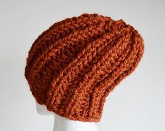 Paprika Red Orange Hand Knit Hat - NAVIGATOR Beanie Hat - Size Large for Men or Women