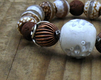 Chunky Agate Boho Beaded Bracelet, Brown and White Tribal Bracelet, Mixed Metals Stretch Bracelet, For Her Under 130