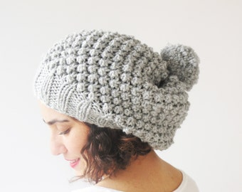 Light Gray Slouchy Hat with Pon Pon by Afra
