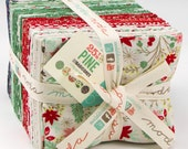 25th and PINE by Basic Grey for Moda Christmas Holiday Fabric Collection - Fat Quarter Bundle of 40 Fabrics