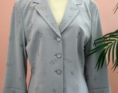 Ladies Light Silver Grey Blazer Embellished with Embroidered Flowers Size 12