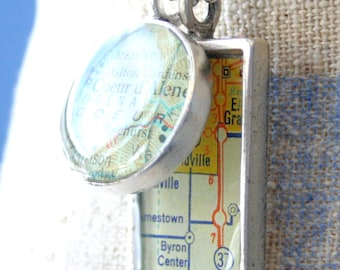 GirlFriend Gift Map Pendants Rectangle ,Custom Order Map Jewelry, In Pewter, Gold or Copper