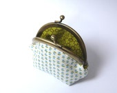 Coin purse - Blue and white floral fabric coin purse