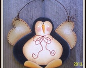 Penguin Wood Christmas Ornament Hand Painted Decoration