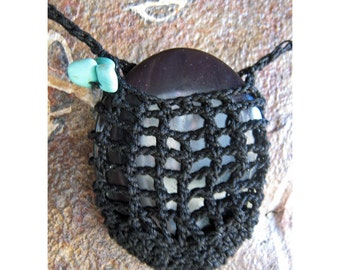 Rainbow Sheen Obsidian Disk - Meditation - Crocheted Pocket Pendant