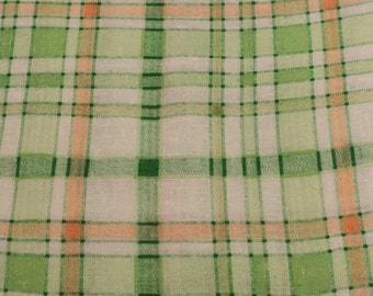 Osnaberg Kettle Cloth Vintage Plaid Fabric - 2 1/3 Yards- Vintage Kettle Cloth / Vintage Osnaberg / Vintage Cotton / Vintage Fabric