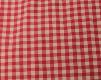 Pink Gingham Fabric - 1 Yard