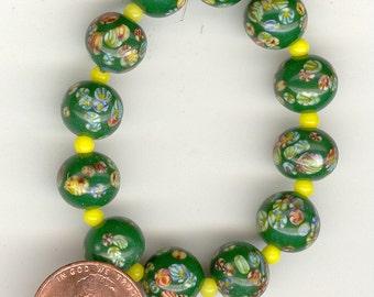 Set Vintage Japan Shamrock Green Millefiori Glass Beads 10mm No.165D
