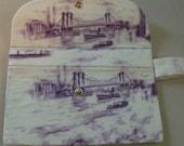 SALE Clutch Purse in Purple City Toile Print