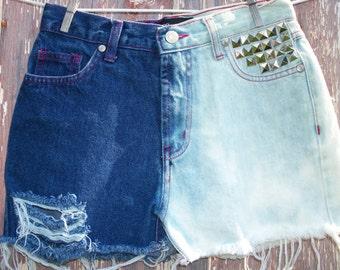 Size 3 Half Bleached High Waist Studded Denim Shorts