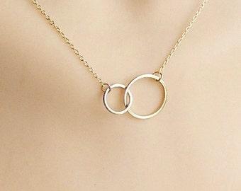 Gold linked circle necklace, Vermeil link necklace, gold plated double link circle necklace, eternity link necklace,