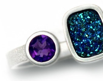 Amethyst and Drusy ring