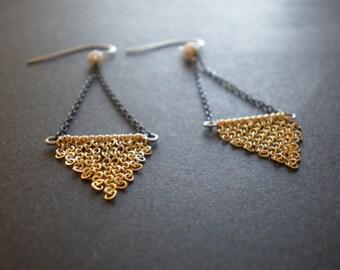 Boho Fringe Triangle Earrings|Geometric Chain Design|Gold Chandelier Earrings|Winter Holiday Jewelry|New Year's Eve Earrings|Chevron Earring