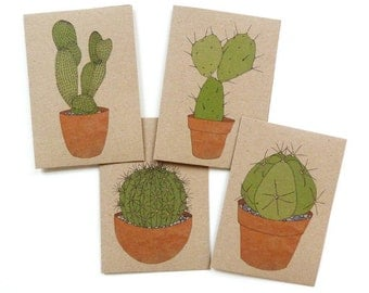 cacti cards - set of four - cactus illustrated cards - pot plant / house plant / cactus print illustrated recycled cards