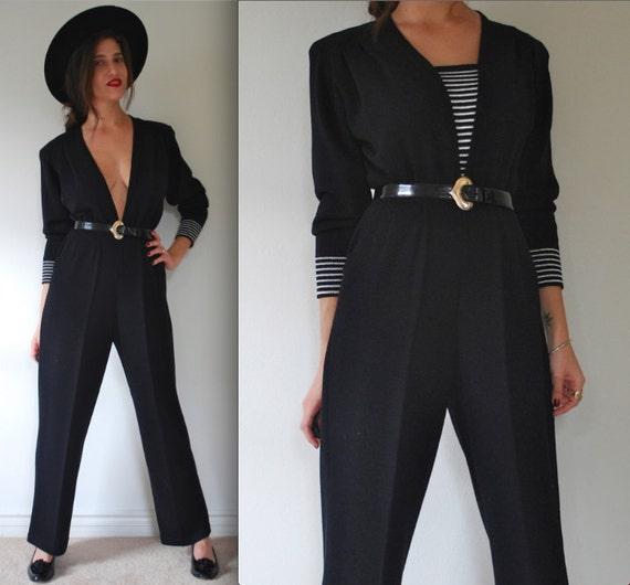 SPRING SALE/ 20% off Vintage 70s 80s Black and White Striped Knit Jumpsuit (size medium, large)