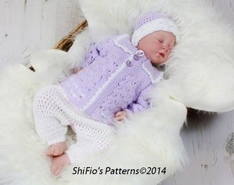CROCHET PATTERN For Baby Sailor Boy Suit, Pants, Jacket, Beanie in 3 Sizes PDF 17 Digital Download