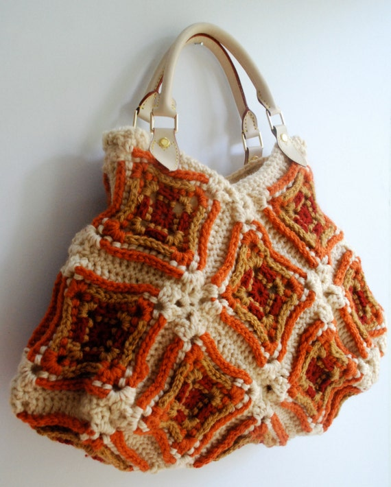 Granny Square Tote Bag : Purse handbag granny square bag tote crochet by KristisTwist