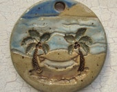 Custom Large Handmade Clay Pottery Pendant Charm or Ornament - Choose Shape and Color - Hammock Scene