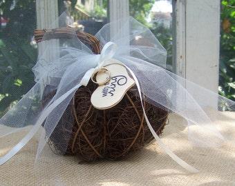 Wedding Ring Pumpkin-Rustic Ring Holder-Fall Wedding Decor-Flower Girl-Ring Bearer