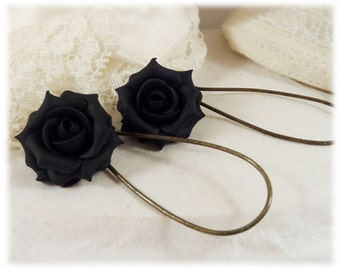 Black Rose Dangle Earrings - Black Rose Drop Earrings, Black Flower Earrings