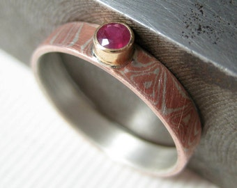 Mokume gane ring with ruby,  Gemstone Ring