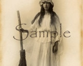 Vintage Halloween Photograph RePrint White Witch and Broom Altered Art RePrint E741