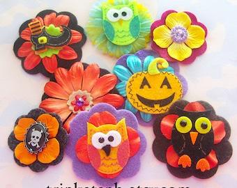 Halloween Felt Flower Embellishments with Rhinestones
