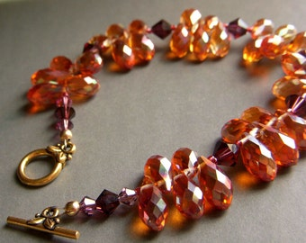 Fall Bracelet, Autumn Bracelet, Crystal Drop Bracelet, Briolette Beaded Large Sparkly, Rusty Orange Crystal Copper Bracelet