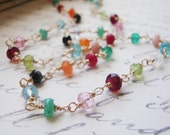 Multi Gemstone Necklace, All Gold Filled, Tiny Rondelles, Wire Wrapped Gems, Gift, Anniversary Gift, Birthstone Necklace