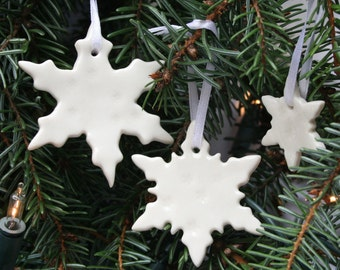 Three Porcelain Snowflake Decorations