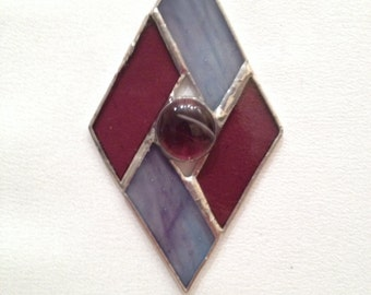 Stained Glass Ornament - Blue and Purple Diamond with Glass Gem