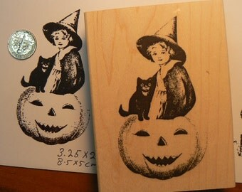 Halloween rubber stamp girl on pumpkin with cat WM P6