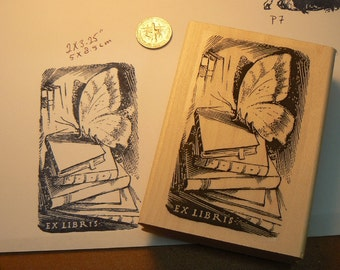 Ex libris butterfly on books rubber stamp P7