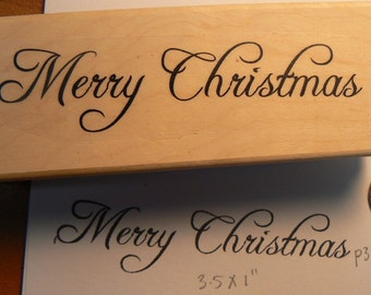 P36 Merry Christmas font rubber stamp WM