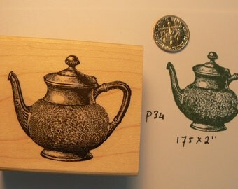 Teapot rubber stamp wood mounted P34
