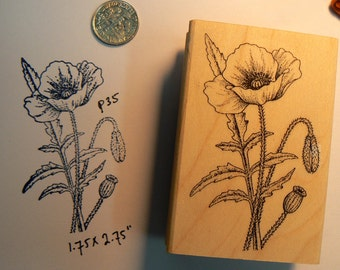 Poppy flowers rubber stamp P35