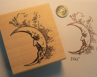 Moon with face rubber stamp vintage style WM P14