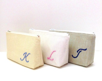 Monogram Bridesmaid Clutch, Cosmetic Bag, Personalized, Your Fabric Choice with Flower Brooch