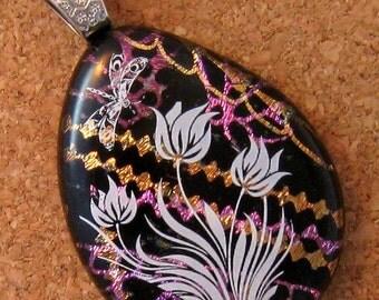 SALE Teardrop Dichroic Pendant - Fused Glass Pendant - Glass Pendant - Dichroic Jewelry - Flower Pendant - Dichroic Necklace