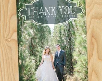 Vintage Faded Thank You - Custom Printable Photo Wedding Thank You Cards