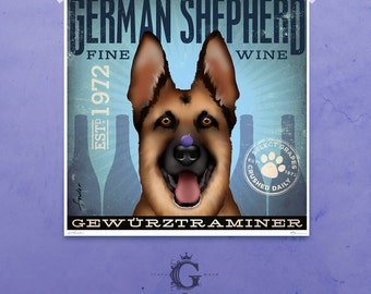 German Shepherd Wine company artwork illustration giclee archival signed artists print  by stephen fowler