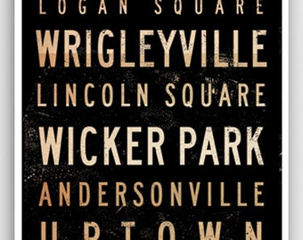 Chicago Neighborhoods graphic typography word art signed archival print by Stephen Fowler Pick A Size