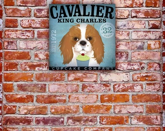 Cavalier King Charles Cucpake Company DOG graphic art on gallery wrapped canvasby stephen fowler