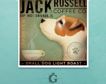 Jack Russell Coffee company original illustration by stephen fowler giclee archival signed print