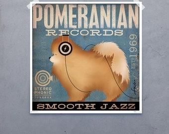 Pomeranian Recording Company original graphic illustration giclee archival signed artist's print Pick A Size